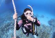 ロープ潜行で体験ダイビング
